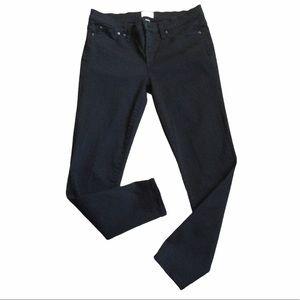 "J. Crew Black 8"" Toothpick Denim Jeans Stretch"